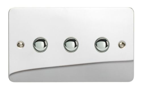 Varilight XFCP3 Ultraflat Polished Chrome 3 Gang 6A 1 or 2 Way Push-On/Off Impulse Switch